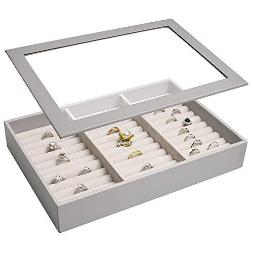 Vee Bandeja organizadora apilable de joyería con tapa, bandeja de joyería de alta capacidad, organizador de almacenamiento para exhibición de joyas (gris)