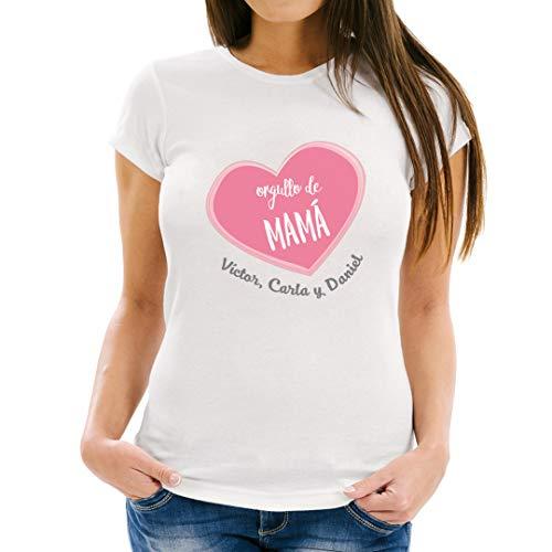 PROMO SHOP Camiseta Mujer con Diseño Especial Orgullo de Mama · Camiseta Personalizada (con Texto) · Ideal para Regalar el día de la Madre · Manga Corta/Talla M · 100% Algodón