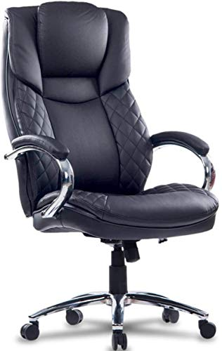 LCH Big and Tall Office Chair 400lbs Wide Seat Ergonomic Desk Chair with Lumbar Support, PU Leather Home Office Chairs for Heavy People (Black)