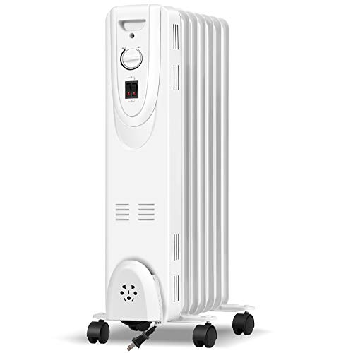 Tangkula Oil Filled Radiator Heater, 1500W Electric Oil Heater w/ Adjustable Thermostat, 3 Heating Settings, Tip Over & Overheating Protection, Space Heater Radiator for Bedroom, Office
