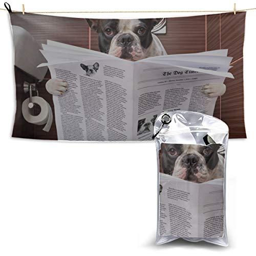 YUMOING Toilet Bulldog Watch Newspaper Camping Bathroom Towels Travel Drying Towel Towel Sports Thin Microfiber Towel 27.5'' X 51''(70 X 130cm) Best for Gym Travel Camp Yoga Fitnes