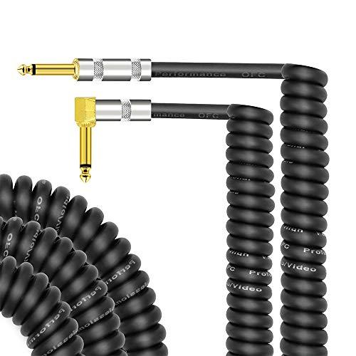 Muslady Cable de Guitarra de Audio de Instrumento Musical Rizado 1/4 pulgada Tapones TS para Guitarra Electrica Mezclador de Bajo Amplificador Ecualizador Max. Longitud de uso de 3 Metros