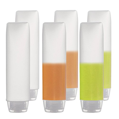 OTO 6 Pack Travel Size Plastic Squeeze Bottles for Liquids, 30ml/1 Fl. Oz TSA Approved Makeup Toiletry Cosmetic Containers
