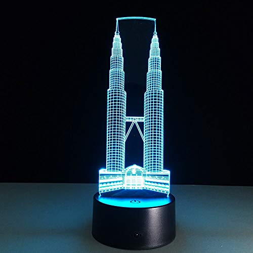 Colorful Three-Dimensional Petronas Towers Building 3D Table Lamp LEDUSB Mood Children Friends Family Souvenirs | Christmas Portable