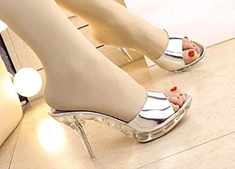 HhGold Sommer Frauen Flip-Flops Hohe Ferse Fein mit wasserdicht (Farbe (Farbe (Farbe   Silber, Größe   7 US 37.5 EU 4.5 UK)  e98387