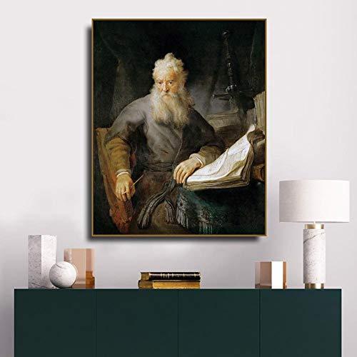 QianLei Apostel Paul Rembrandt Van Rijn Canvas Schilderij Kalligrafie Canvas Poster Print Decor Afbeelding voor woonkamer slaapkamer wooncultuur 48x60 cm Geen vorm