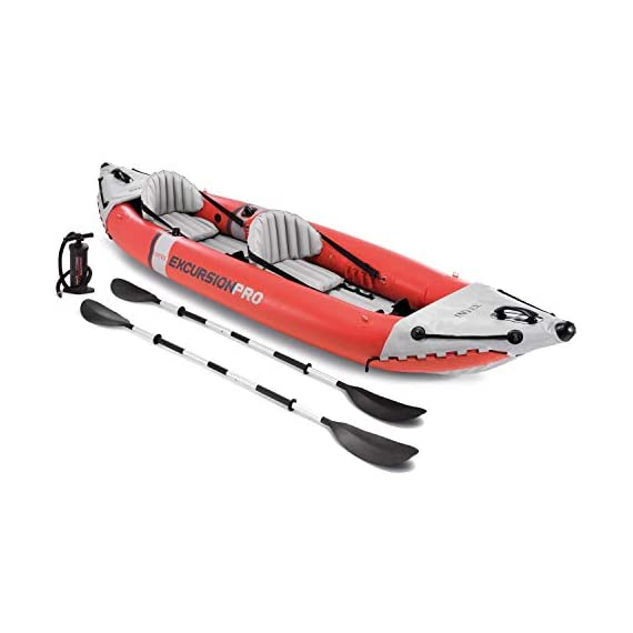 Intex excursion pro kayak, professional series inflatable fishing kayak 1 super tough laminate pvc with polyester core: light weight and highly resistant to damage from abrasion, impact and sunlight high pressure inflation provides extra rigidity and stability, with high pressure spring loaded valves for easy inflation and fast deflation includes 2 removable skews for deep and shallow water, 2 floor mounted footrests, 2 integrated recessed fishing rod holders, 2 adjustable bucket seats