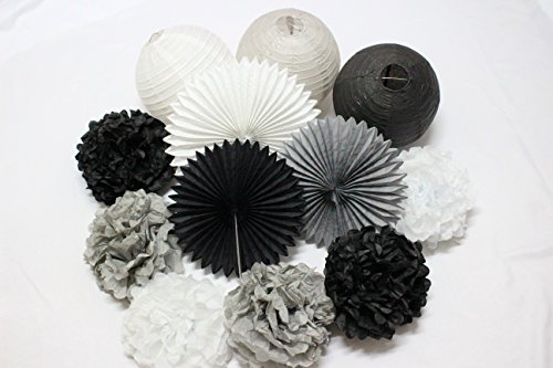 12 PCS Mixed Black Gray White Tissue Pom Poms Paper Lanterns Paper Fan for Birthday Party Wedding Celebration Baby Shower Festival Decoration