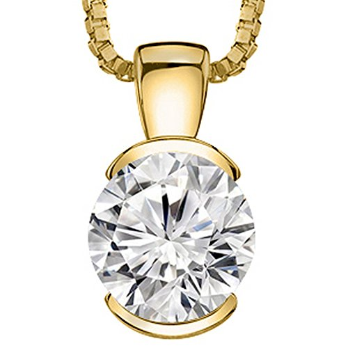 """0.5 Carat 14K Yellow Gold Round Diamond Half Bezel Solitaire Pendant Necklace I Color SI1 Clarity, w/ 16"""" Silver Chain"""