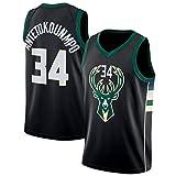 YIXUAN Hombre los de Camiseta Jersey Milwaukee Bucks #34 Giannis Antetokounmpo Swingman Camiseta de Baloncesto (Negro, S (44))