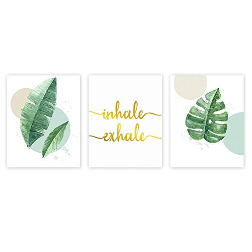 Watercolor Green Leaf Print&Inhale Exhale Quote Gold Foil Print, Botanical Painting Yoga Room Cardstock Art Poster Wall Decor (set of 3, 8'' x 10'' ,Unframed)