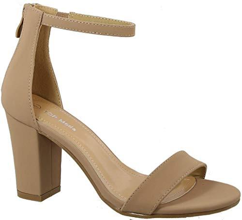 Over the Toe Strap Ankle Wrap Strap Heel Open Toe Medium Heel, Tan, 10