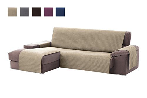 Textilhome - Funda Cubre Sofá Chaise Longue Adele, Protector para Sofás Acolchado Brazo Izquierdo. Tamaño -240cm. Color Beig (Visto DE Frente)
