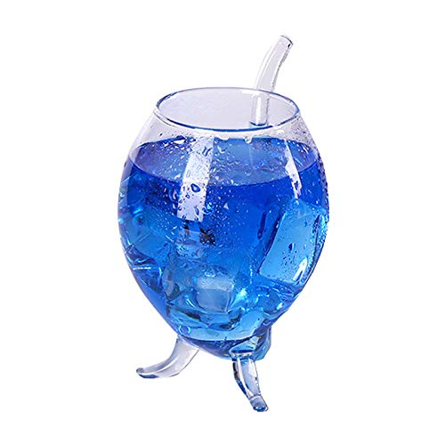 Transparent Glass,HMMA transparent vampire heat-resistant wine glass glass with drinking straw home bar