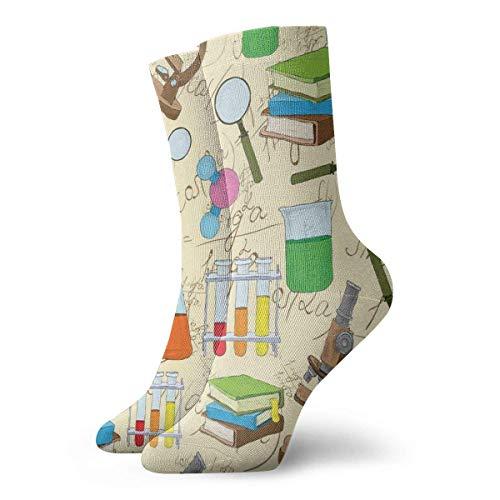 Wissenschaftliche Bildung Labor Skizzenbücher Gleichung Lupe Mikroskop Molekül Flachmann Druck Slipper Socken für Frauen Lustige Socken 30 cm