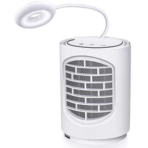 MYONAZ Mini Ceramic Space Heater 500W Personal Heater with LED Light Small Place Fan Heater 3-1 Desk Heater for Home Office and Indoor (White)