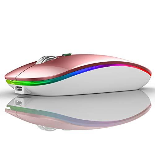 U12 Ratón Inalámbrico Recargable, Ultra Delgado Receptor Nano Wireless Mouse 1600 dpi Ajustables Silencioso Mini Mouse Multicolor LED para Computadora Portátil, PC, Portátil, Macbook (Oro Rosa)