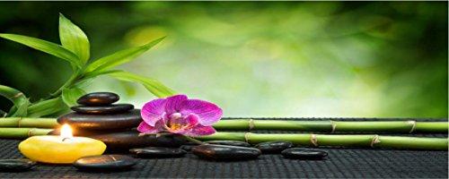 PPA DESIGN SATDL0154 - Sticker Autocollant Tête de Lit Déco Bambou Galet Orchidée Bougie (200x80cm)