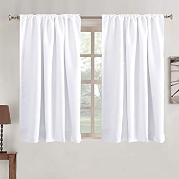 Blackout Curtains Thermal Insulated Window Treatment Panels Rod Pocket Window Panels for Small Windows Thermal Insulated Back Tab Curtains 52  x 45  White 2 Panels