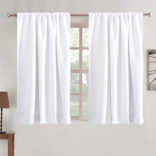 Blackout Curtains Thermal Insulated Window Treatment Panels Rod Pocket Window Panels for Small Windows Thermal Insulated Back Tab Curtains, 52' x 45', White, 2 Panels