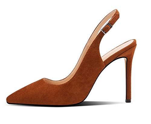 Mettesally - Scarpe con Cinturino Dietro la Caviglia Donna - Scarpe col Tacco Donna - Suedebrown,EU35