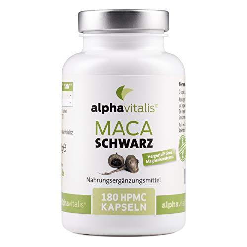 Maca Schwarz 4000 mg je Tagesdosis- 180 Maca Kapseln - Maca Extrakt vegan, hochdosiert und ohne Magnesiumstearat - Qualität made by alphavitalis