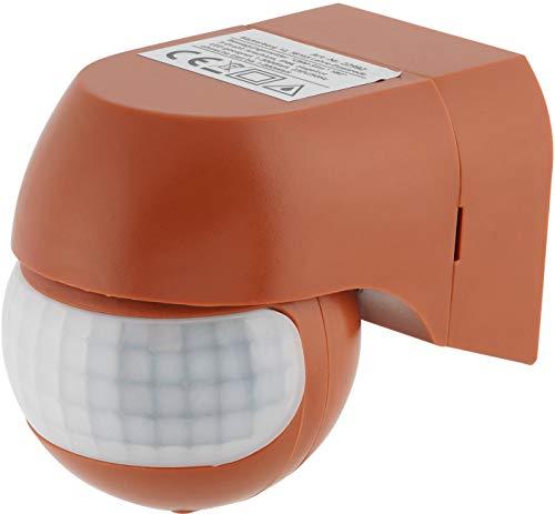 Aufputz Slim Infrarot Bewegungsmelder IP44 180° 230V - mit Dämmerungssensor - für Feuchtraum Aussen - LED geeignet ab 1W - ziegel-rot