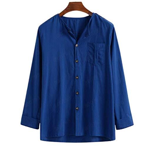 Camisa de Manga Larga para Hombre Color sólido Casual Cómoda Moda Simple Camisa básica Suelta de un Solo Pecho con Bolsillo XL