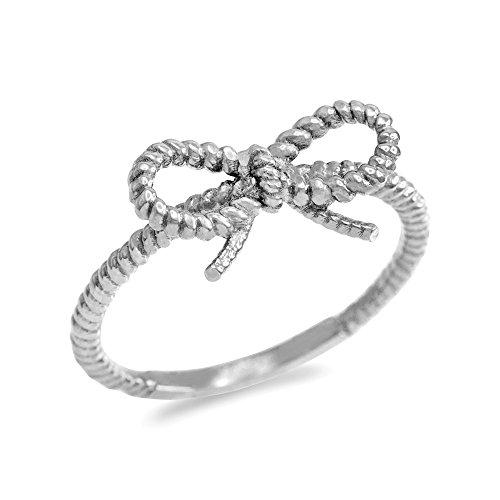Kleine Schätze Damen Ring 14 Karat Weißgold Bandschleife Seil Entwurf
