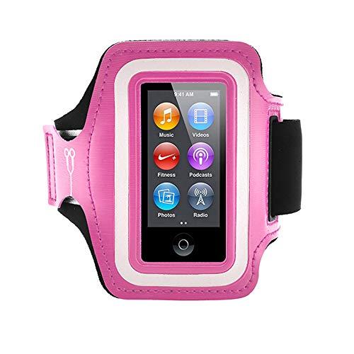 Fitness Guru iPod Nano 7 Running Jogging Armband Houder Gemaakt met Super Sterk Lycra Materiaal met Reflecterende Blijf Safe Strip, Dual Arm Size Slots, Sleutelzak & Hoofdtelefoon Houder, roze