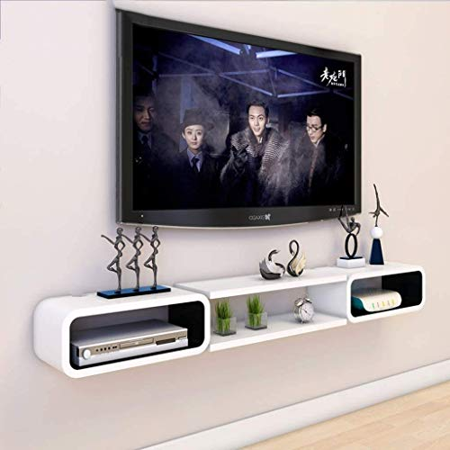 ZHANGYY White Wall Mounted Cabinet Floating TV Stand Media Console, Storage Shelves...
