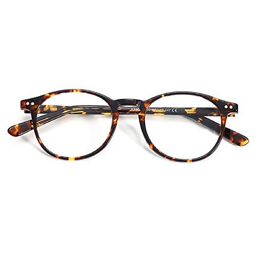 ZENOTTIC Rund Brille Klassische Nerdbrille Ohne Sehstärke Brillengestelle Damen Brillenfassung Fake Brille Ohne Stärke für Herren, Tortoise, S