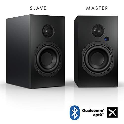 Nubert nuBox A-125 Regallautsprecherpaar | PC-Lautsprecher mit Bluetooth aptX | HiFi-Lautsprecher für das Wohnzimmer | aktive Regalboxen mit 2 Wege Technik | Kompaktlautsprecherset Schwarz| 2 Stück