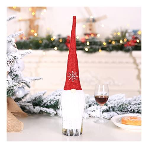 Cubiertas de Botellas de Vino navideñas Decoraciones de Sombreros navideños Bolsas de Papá Noel Adornos de gnomos suecos Fiesta Casa de Vacaciones Mesa de Comedor Gnomos Decoraciones navideñas(Col
