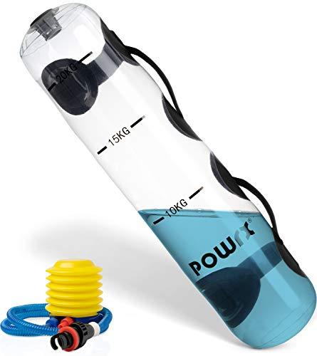 POWRX Wasserartikel füllbar inkl. Pumpe I Wasserball Power Bag Bulgarien Gewichts Bag mit Schlaufengriff I Wasser Medizinball Aqua Training Functional Fitness (Wasserpowerbag 20 kg)