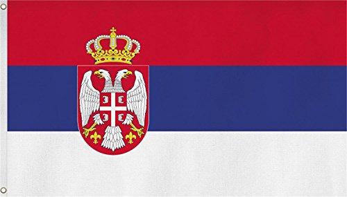 normani Fahne mit Messingösen 90 x 150, 150 x 250 oder 300 x 500 cm wählbar Farbe Serbien Größe 90 x 150