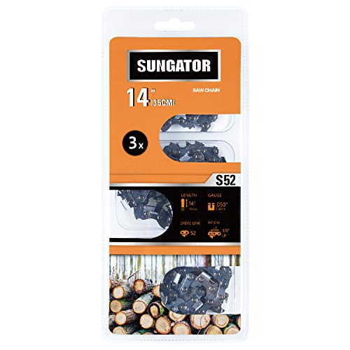 """SUNGATOR 3-Pack 14 Inch Chainsaw Chain SG-S52, 3/8"""" LP Pitch - .050"""" Gauge - 52 Drive Links, Compatible with Craftsman, Poulan, Ryobi, Homelite, Echo"""