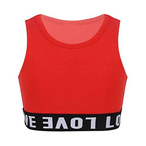 inhzoy Chaleco Deportivo de Danza Yoga para Niña Crop Top de Baile Moderno Camiseta Corta Deportiva Sin Mangas Top Traje Fitness Workout Running Rojo 5-6 años