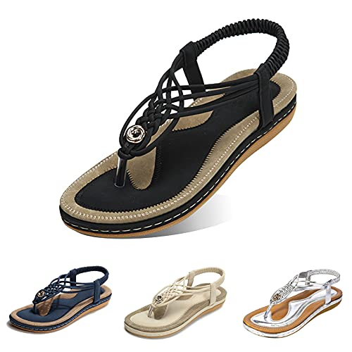gracosy Women Summer Flat Sandals, Beach Sandals for Women with Ankle Strap Elastic T-Strap Flip Flops Comfort Summer Shoes Dressy Thongs Wide Width Casual Open Toe Gladiator Sandal Black 10 B(M) US