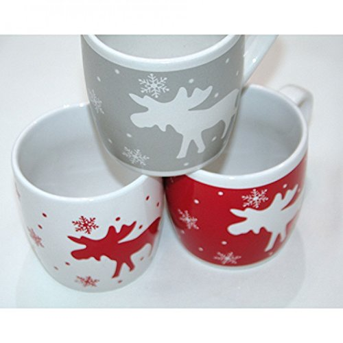 Glühweinbecher Kaffeebecher in bauchiger Form mit Elch und Schneeflocke Motiv rot weiß grau 250 ml 12 Stück
