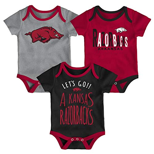 Arkansas Razorback Infant Creeper Set Lil Tailgater 3 Pack (18 M)