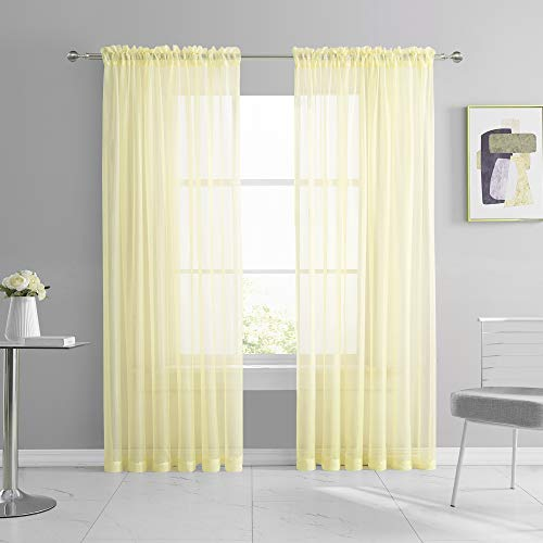 KEQIAOSUOCAI 2 Panels Girls Room Sheer Curtains 84 Inch Light Yellow Cream Rod Pocket Transparent Voile Sheer Curtains Panels for Bedroom Living Room Wedding Party Backdrop Each is 52W x 84L