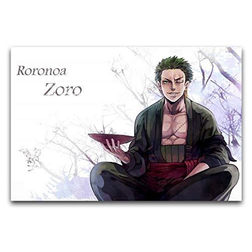 Figuras de anime Roronoa Zoro de una pieza, pintura en lienzo, decoración de pared, cuadros de sala de estar, 40 x 60 cm.