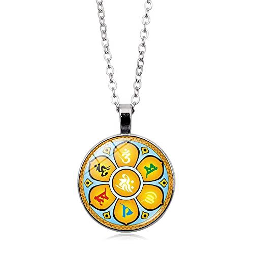 Collar De Chakra Colgante Buda Yoga Meditación Flor De La Vida Joyería De Mandala Símbolo Del Sánscrito Indio Collares Para Mujeres Longitud: 50 Cm