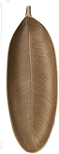 Placas reutilizables bandejas decorativas de oro piña de oro forma de hoja de oro piña joyería palet fruta fruta plato plato postre perfume home bowls almacenamiento ( Color : Gold 3 , Size : Medium )