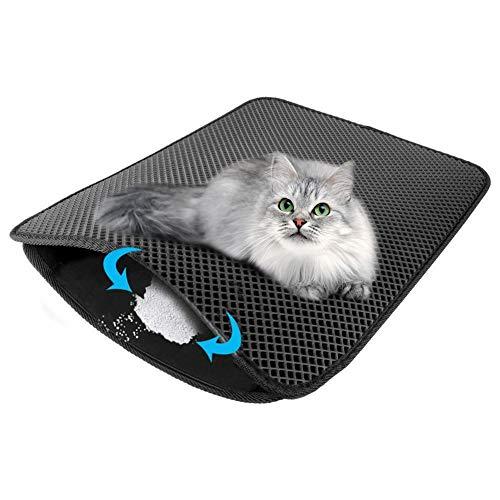 Kuoser Katzenstreumatte 71,1 x 55,9 cm, wasser- und urinfest, Katzenstreu Fangmatte mit doppellagigem Waben-Design, waschbar und rutschfest, EVA