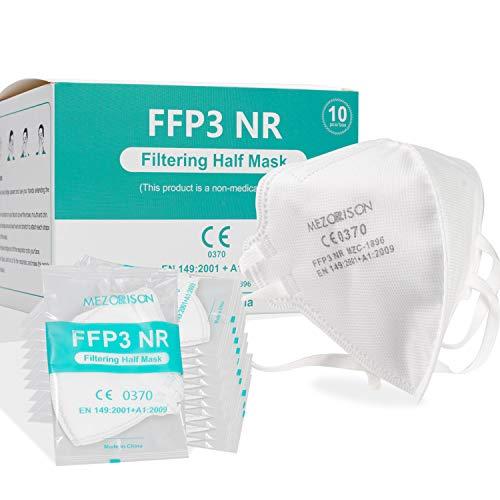 Mascarillas de respiración FFP3-10Pcs, Mascarillas Desechables 149: 2001 + A1: 2009, Mascarilla Protectora Respiratoria Multicapa con Alta Capacidad de Filtración