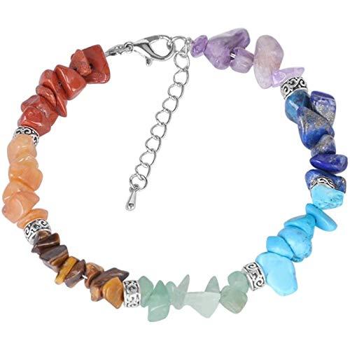 Bjhneq Natural Stone Gemstone Bracelet Lady Pulley Aura Ladies Bracelet Chain Link Lobster Buckle Balance Stone Beads Meditation Rainbow