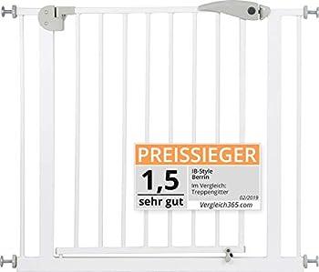 ib style® Barrière de sécurité Disponible jusqu'à 275 cm |Barrière Chien |!Passage Extra Large ! | sans perçage | Auto-Close| 90° arrêt | 120-130 cm