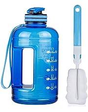BOGI 1.3 or 2.2L 75oz Large Sport Water Bottle, Half Gallon Water Bottle BPA Free Leak Proof Reusable Anti-Fall Tritan Big Water Jugs for Outdoor Travel Climbing Fitness Gym Yoga Home Office + Handle & Brush